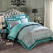 Turquoise And Gray Vintage Flower Pattern Exotic Elegant Luxury Jacquard Design Satin Fabric Full Queen Size Bedding Sets