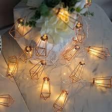 led lichterkette geometrische led lichterkette roségold metall led string light 10 led batteriebetrieben für schlafzimmer hochzeit weihnachten