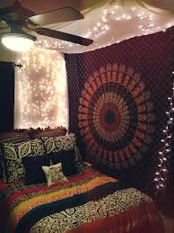 Anthropologie Florence Bedding Bed Canopy With Christmas Lights And Boho Tapestry All In My College Apartment Bedroom Brighter Colors