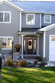 Therma Tru Entry Doors by Harvard Slate Grey Vinyl Siding And Vinyl Shakes With White Trim