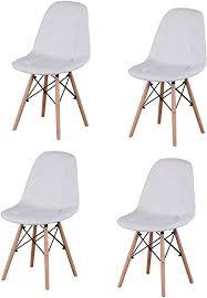 esszimmerstühle 4er set pu leder freizeit stühle mittelmoderner stuhl mit holzbeinen für esszimmer schlafzimmer wohnzimmer seitenstühle weiß
