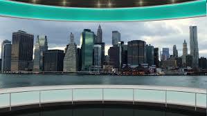 HDTV News TV Virtual Studio Green Screen Background Cityscape