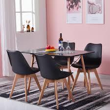 hj wedoo esstisch mit 4 stühlen schwarz esszimmer essgruppe 110x70x73cm für esszimmer essgruppe