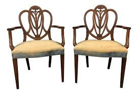 Mahogany Hepplewhite Prince Of Wales Dining Arm Chairs - Pair 4 Hepplewhite Style Mahogany Yellow Floral Upholstered Ding Chairs Style Ding Table And Chairs Pair George Iii Mahogany Armchairs Antique Set Of 8 English Georgian 12 19th Century Elegant Mellow Edwardian Design Antiques World 79 Off Wood Hogan Side Chair Eight Late 18th Of