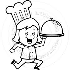 Chef Delivery Black and White Line Art