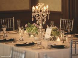 Elegant Wedding Centerpiece With Tall Crystal Candelabra Of 14