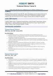 Customer Service Trainer III Resume Sample