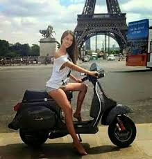 Vespa Girl Scooter Bike Lambretta Scooters Motor Motorcycle Girls Biker Eiffel Towers