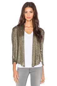 haute hippie drapey sequin blazer in coal revolve