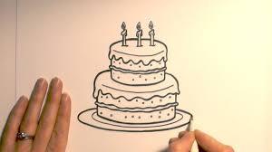 Simple Birthday Cake Drawing How To Draw A Cartoon Birthday Cake Youtube
