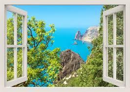 meer blick wandaufkleber wandbild 3d fenster blick wandtattoo tropic sea wandaufkleber natur wand aufkleber schlafzimmer home decor