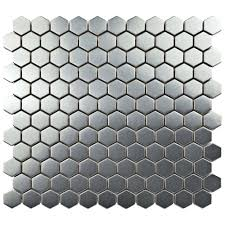 Home Depot Merola Penny Tile by Merola Tile Meta Hex 11 1 4 In X 11 1 4 In X 8 Mm Stainless
