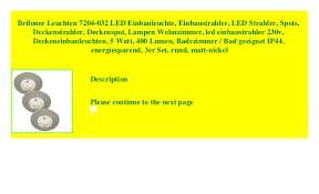 briloner leuchten 7204 032 led einbauleuchte einbaustrahler