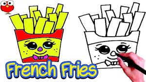 how to draw cute french fries step by step for kids lesson easy drawing funny cartoon food Draw4kids