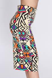 beige multi tribal print pencil skirt amiclubwear clothing