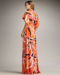 issa short sleeve kimono maxi dress in orange lyst