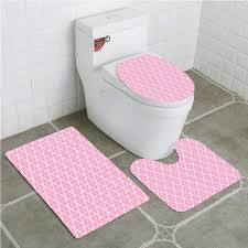 eczjnt geometric valentines day themed romantische abstrakte blumen retro stil 3 stück bad teppiche set bad teppich kontur matte toilettendeckel
