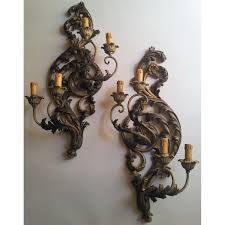pair of antique italian polychromed carved wood 4 arms wall half