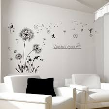 SHIJUEHEZI Black Color Dandelions Wall Stickers Vinyl DIY Flower Decals For Living Room Sofa Backdrop Bedroom Decoration In From Home