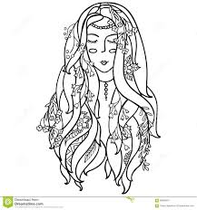 Vector Illustration Black And White Woman With Flowers Coloring For Pages Adults