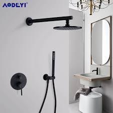 messing schwarz bad dusche armaturen 8 12 regen dusche kopf badezimmer dusche set umsteller mixer ventil dusche system wand montiert