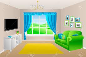 wohnzimmer blau grün sofakissen len fenster illustration