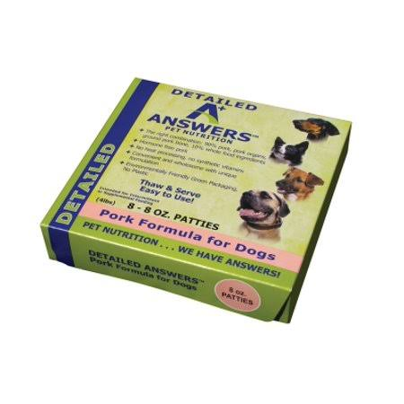A+ Answers Pet Food Detailed Aa00214 Pork Patties Dog Food, 8 oz Box
