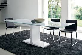 Enchanting Gray Fur Dining Room Rug Decoration Under White Table And Timber Glass On The