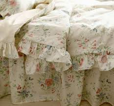Rustic Rural Vintage Blue Rose Ruffle Cotton Bedding Sets Luxury Full Size Duvet Cover Set
