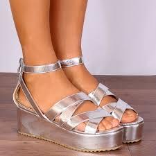 silver metallic wedged platforms strappy sandals wedges flatforms