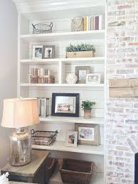 Built In Bookshelves Styling Shiplap Whitewash Brick Fireplace Rustic Mantle