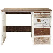 bureau bois recyclé bureau en bois recyclé l 112 cm arcachon maisons du monde idées