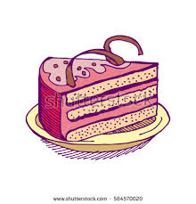 Piece of cake hand drawing pie isolated Dessert on white background Sweet cakes