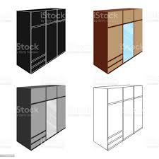 ein großes schlafzimmer kleiderschrank mit spiegel und viele schubladen und zellen schlafzimmer möbel einzelnes symbol im stil vektor symbol