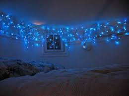 Bedroom Decorating With Blue Christmas Lights