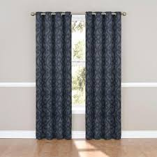 J Queen New York Curtains by Eclipse Patricia Blackout Storm Blue Grommet Curtain Panel 84 In