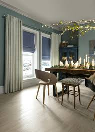 Dining Room Blue Curtains Beige Gray