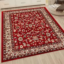klassisch orient teppich dicht gewebt wohnzimmer rot braun vimoda homestyle