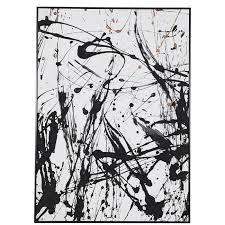 großes modernes wandbild abstrakter leinwanddruck mit struktur in schwarz weiß gold