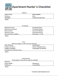 Apartment Hunters Checklist