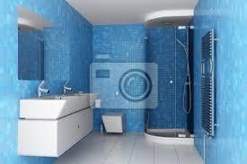 modernes badezimmer mit blauen fliesen an wand und weißen ausrüstung poster myloview