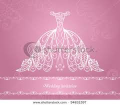 Royalty Free Clipart Image A White Floral Wedding Dress on Pink