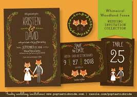 Hipster Foxes Wedding Invitation