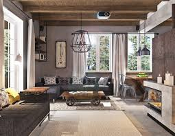 Living Room Rustic Country House Exposed Wood Ceiling Fireplace Themed Gray Sofa What