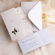 Affordable Elegant Ivory Butterfly Art Deco Tri Fold Wedding Invitation Kits