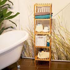 badregal bambus standregal badezimmer küche bambusregal mit 5 offenen ablagen hbt 140 x 34 x 33 cm natur