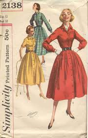 Inspiration The Shirt Dress Simplicity 2138 Vintage 50s Shirtwaist Pattern By Bellaloona