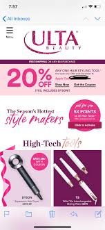 Another Ulta 20% Off! Includes Dyson + 5x Points On All Hair ... Ulta Free Shipping On Any Order Today Only 11 15 Tips And Tricks For Saving Money At Business Best 24 Coupons Mall Discounts Your Favorite Retailers Ulta Beauty Coupon Promo Codes November 2019 20 Off Off Your First Amazon Prime Now If You Use A Discover Card Enter The Code Discover20 West Elm Entire Purchase Slickdealsnet 10 Of 40 Haircare Code 747595 Get Coupon Promo Codes Deals Finders This Weekend Instore Printable In Store Retail Grocery 2018 Black Friday Ad Sales Purina Indoor Cat Food Vomiting Usa Swimming Store