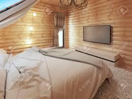 tv gerät in einem modernen schlafzimmer inter in einem protokoll wand tv mit der konsole darunter 3d übertragen