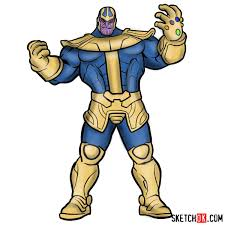 How To Draw Thanos From Marvel Comics In Full Growth Step